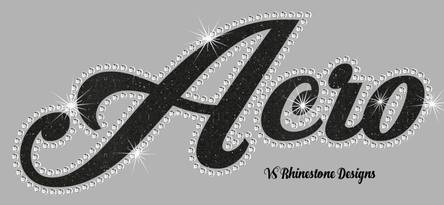 Acro Cursive Vinyl and Rhinestone Transfer